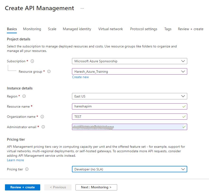 Create API Management