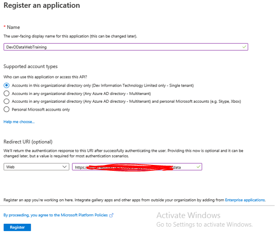 Register an application