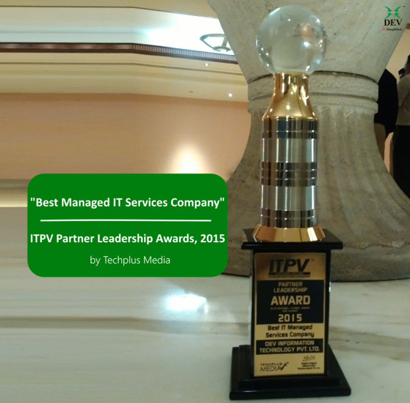 """DEV IT bags """"Best Managed IT Services Company"""" award at ITPV Partner Leadership Awards, 2015"""
